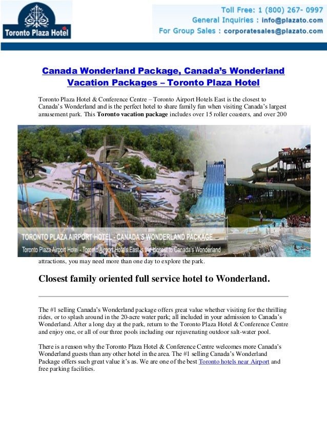 Canada Wonderland Package, Canada's Wonderland Vacation Packages – Toronto Plaza Hotel Toronto Plaza Hotel & Conference Ce...