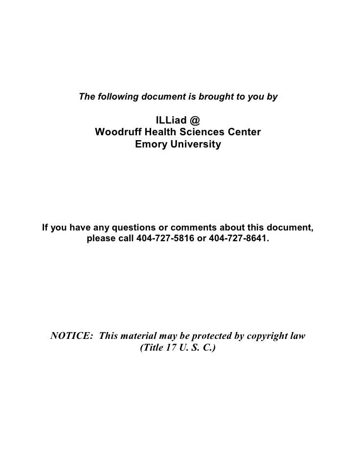 The following document is brought to you by                       ILLiad @            Woodruff Health Sciences Center     ...
