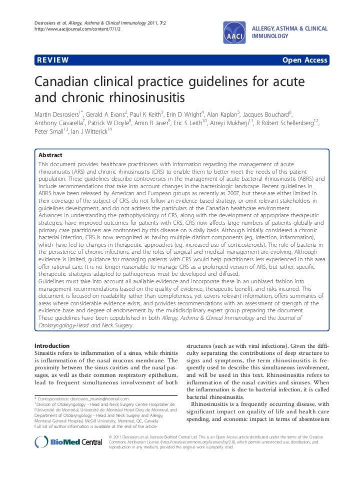 Canadian clinical practice guidelines per il tarttamento delle rinosinusiti acute e croniche.