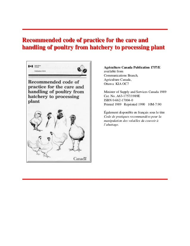 Recommended code of practice for the care andRecommended code of practice for the care and handling of poultry from hatche...