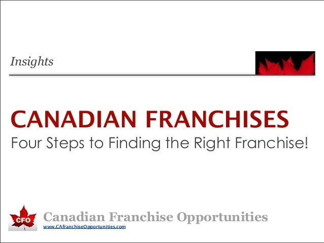 Four Steps to Finding the Right Franchise!Canadian Franchise Opportunitieswww.CAfranchiseOpportunities.comCANADIAN FRANCHI...
