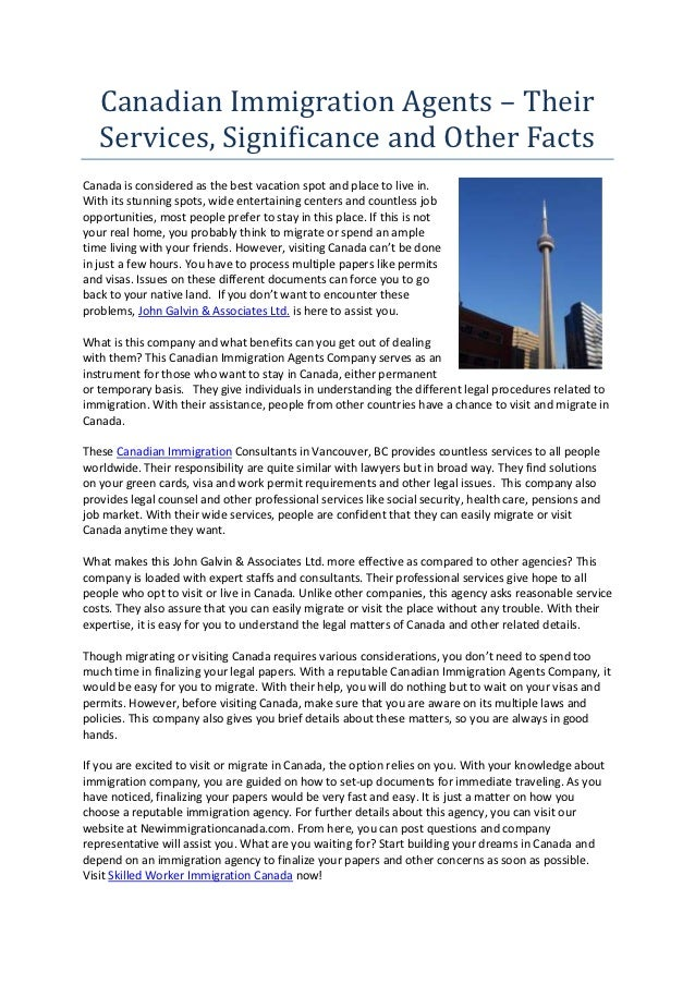 Canadian Immigration Agents - Their Services, Significance and Other Facts