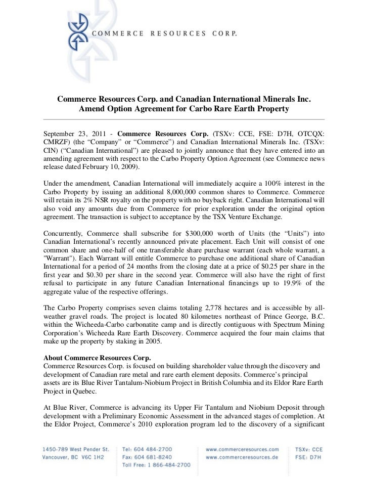 Commerce Resources Corp. and Canadian International Minerals Inc.        Amend Option Agreement for Carbo Rare Earth Prope...