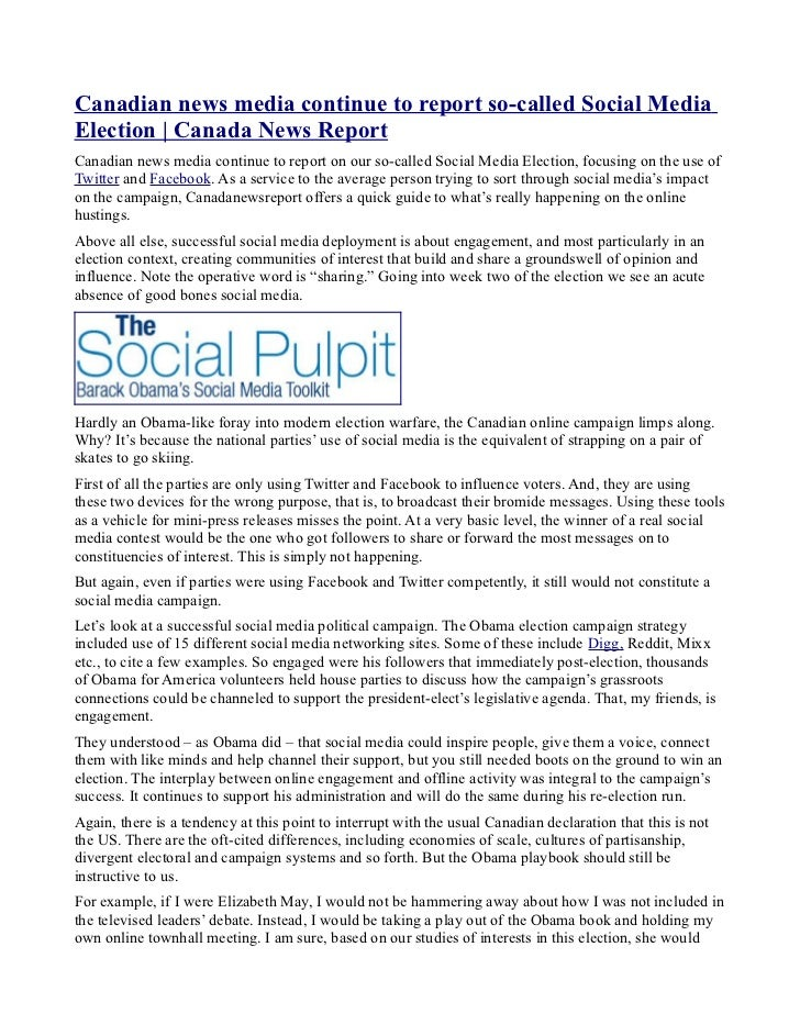 Canadian news media continue to report so-called Social MediaElection | Canada News ReportCanadian news media continue to ...