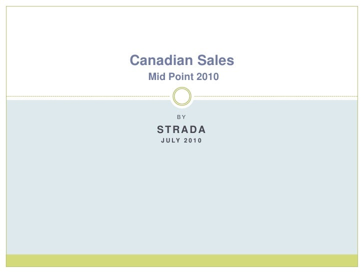 By<br />Strada<br />July 2010<br />Canadian Sales Mid Point 2010<br />