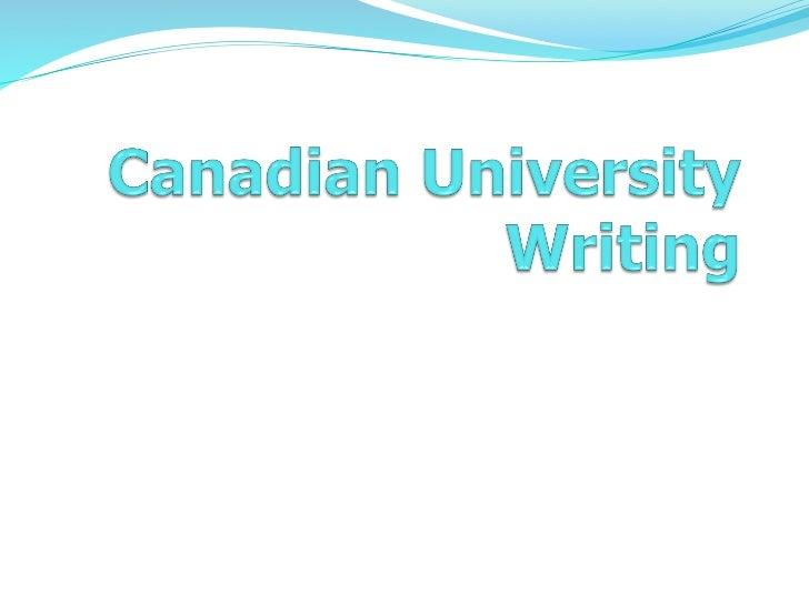 Canadian university writing