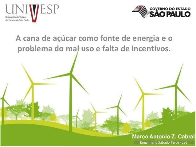 A cana de açúcar como fonte de energia e o  problema do mal uso e falta de incentivos.  Marco Antonio Z. Cabral  Engenhari...