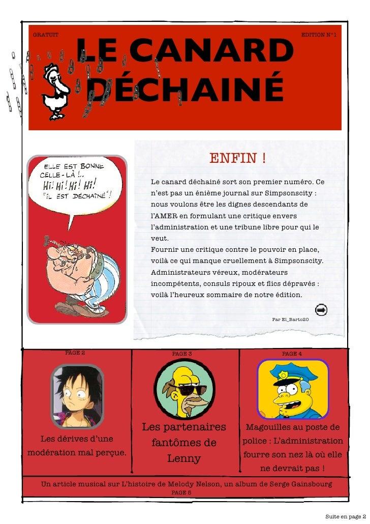 LE CANARD  GRATUIT                                                                      EDITION N°1                   DÉCH...