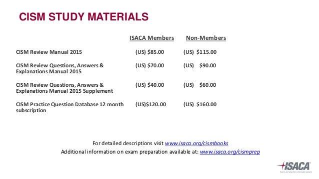 CISM Study Materials - Information Assurance   ISACA