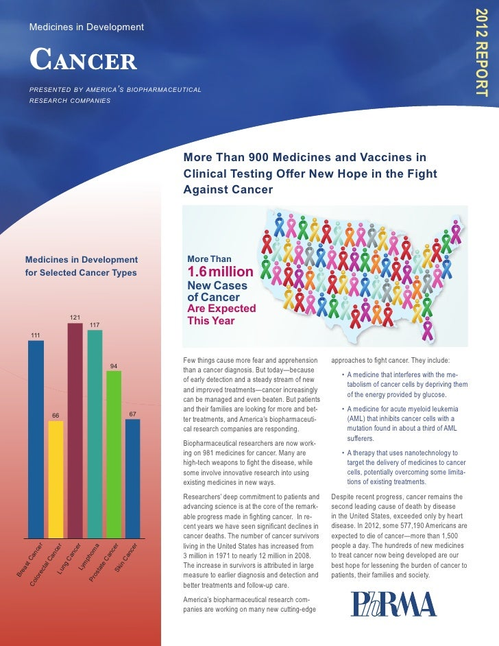 2012 Report     Medicines in Development     Cancer     presented by america's biopharmaceutical     research companies   ...