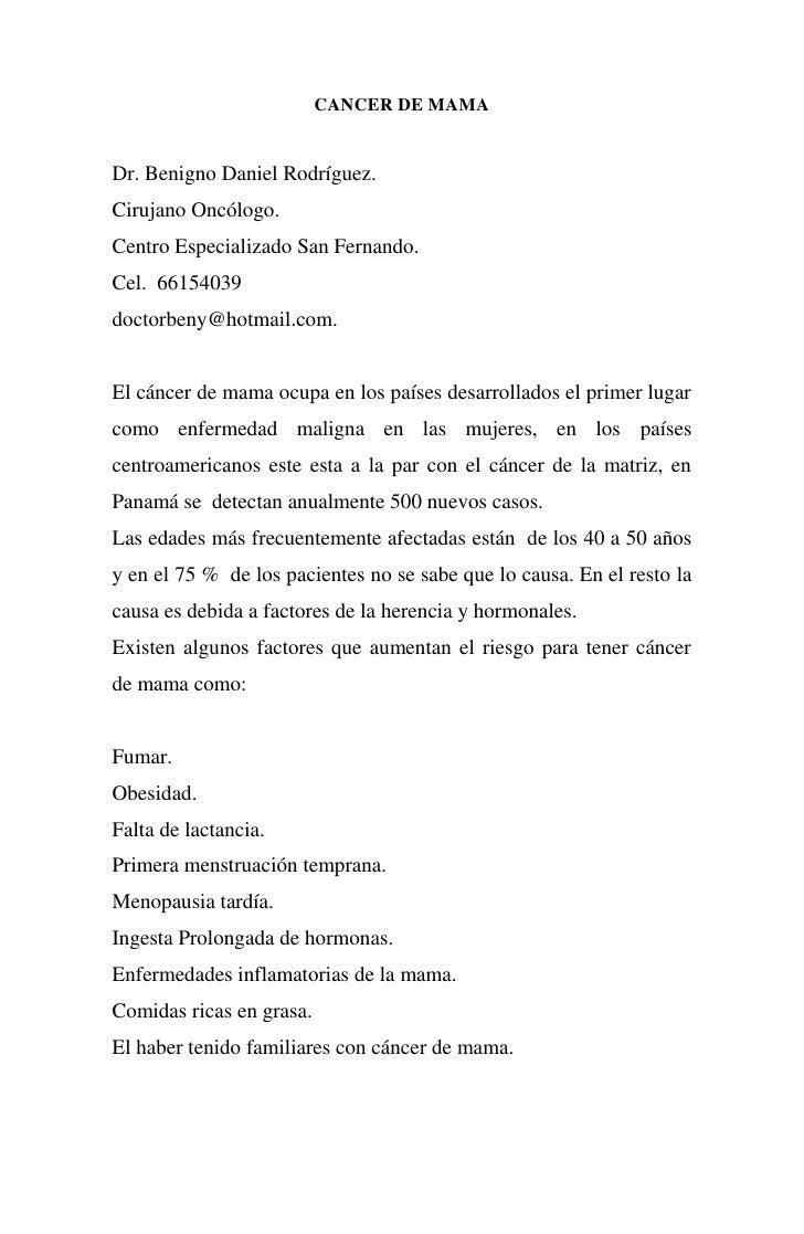 CANCER DE MAMADr. Benigno Daniel Rodríguez.Cirujano Oncólogo.Centro Especializado San Fernando.Cel. 66154039doctorbeny@hot...