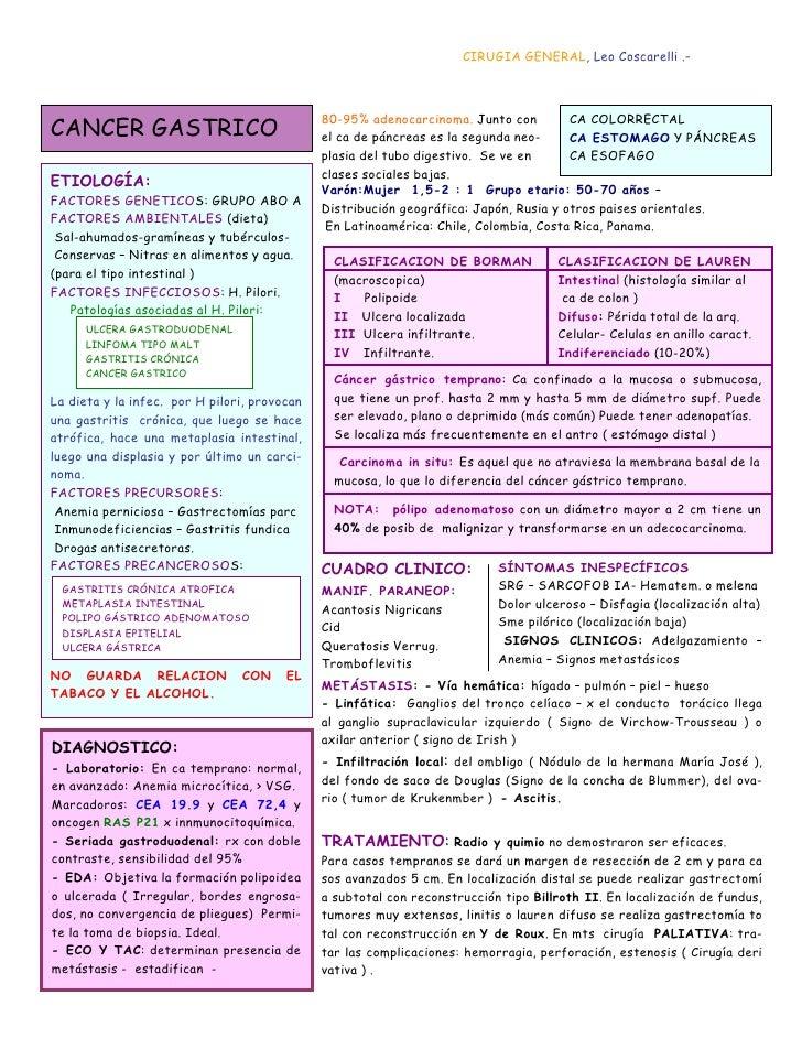 CIRUGIA GENERAL, Leo Coscarelli .-                                              80-95% adenocarcinoma. Junto con         C...