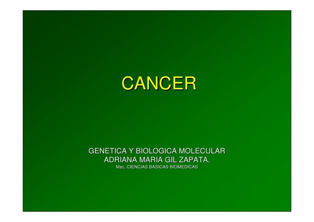 CANCER   GENETICA Y BIOLOGICA MOLECULAR    ADRIANA MARIA GIL ZAPATA.       Msc. CIENCIAS BASICAS BIOMEDICAS       Msc.