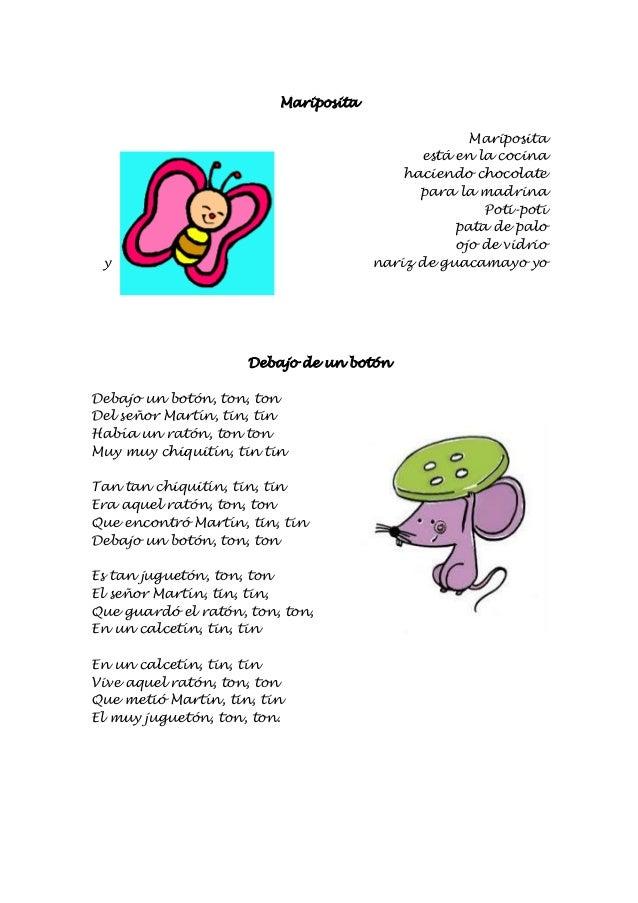 Cancionero infantil escuela bibichu for Mariposita esta en la cocina