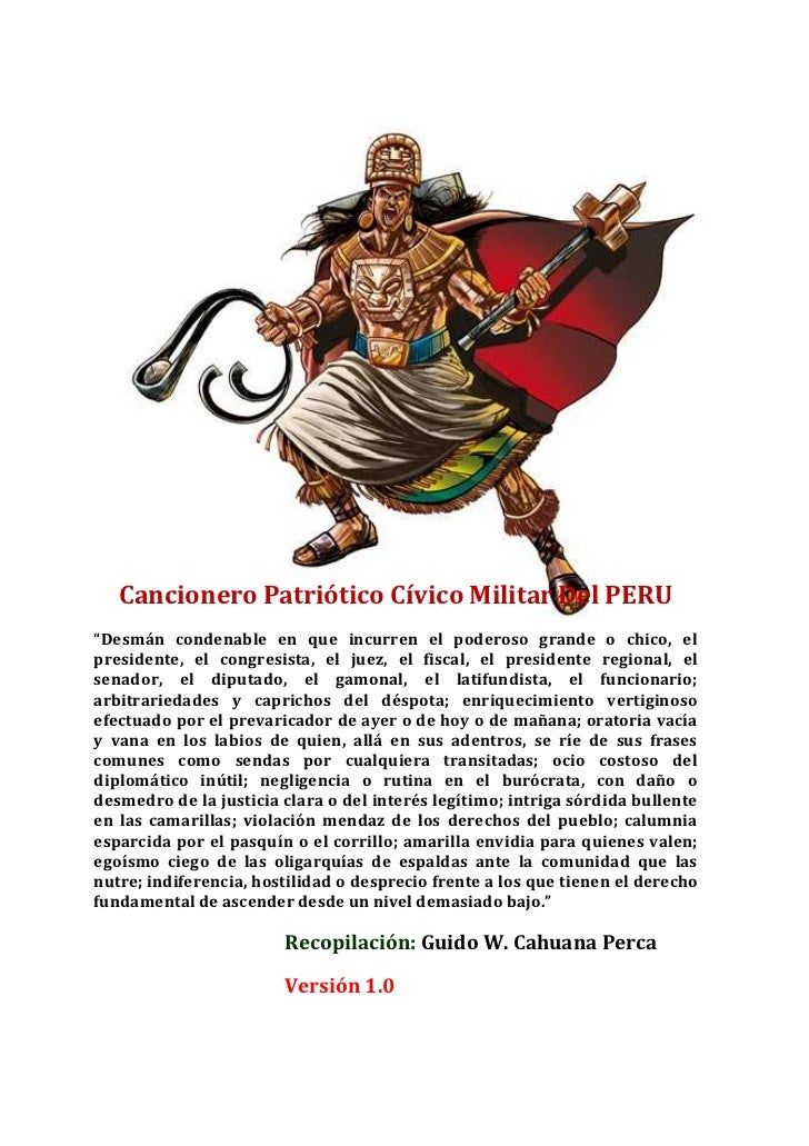 Cancionero Patriótico Peruano Cívico Militar del peru