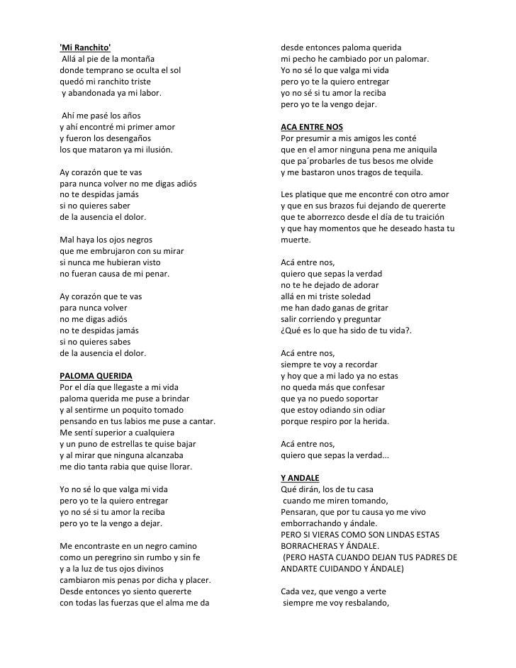 letras de canciones no le temas a: