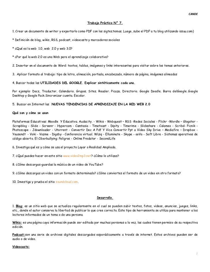 CANDE                                                    Trabajo Práctico N° 7.1. Crear un documento de writer y exportarl...