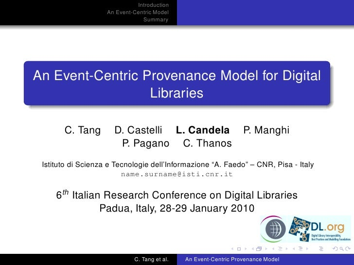 An Event-Centric Provenance Model for Digital Libraries @ IRCDL 2010