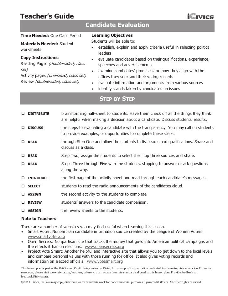 Teacher's Guide                                                     Candidate EvaluationTime Needed: One Class Period     ...