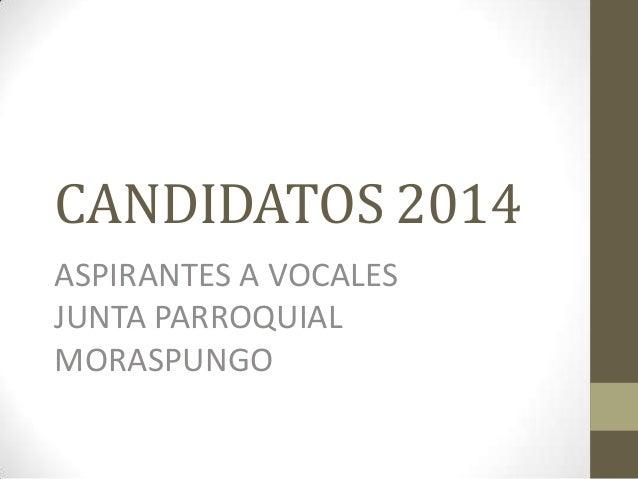 CANDIDATOS 2014 ASPIRANTES A VOCALES JUNTA PARROQUIAL MORASPUNGO