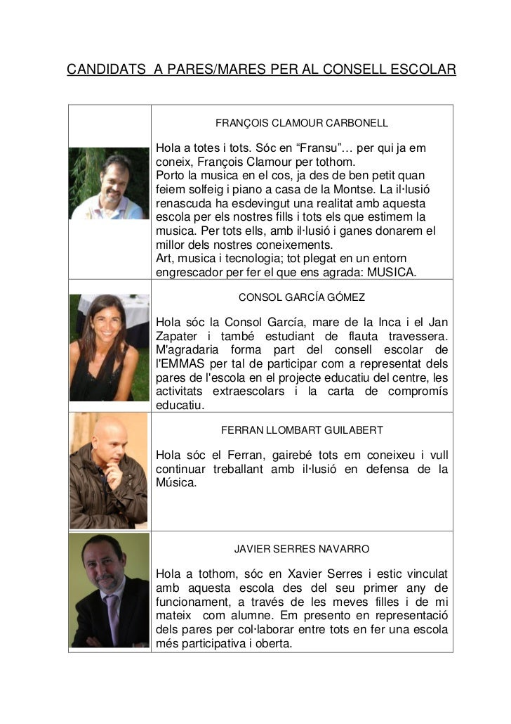 Candidats consell escolar