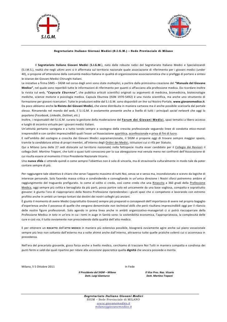 Segretariato Italiano Giovani Medici (S.I.G.M.) – Sede Provinciale di Milano            Il Segretariato Italiano Giovani M...
