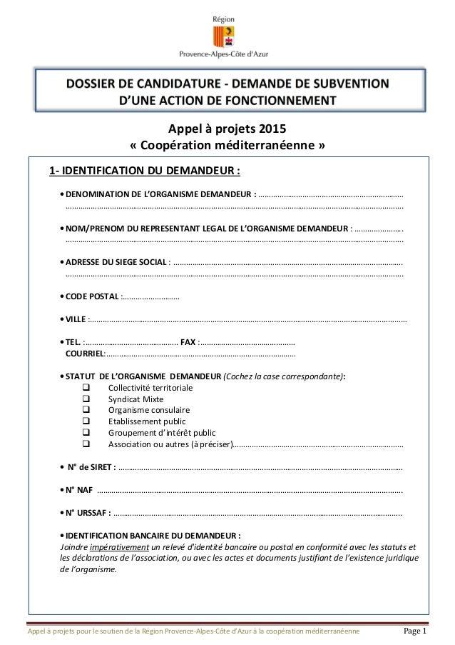 Appel à projets pour le soutien de la Région Provence-Alpes-Côte d'Azur à la coopération méditerranéenne Page 1 DOSSIER DE...