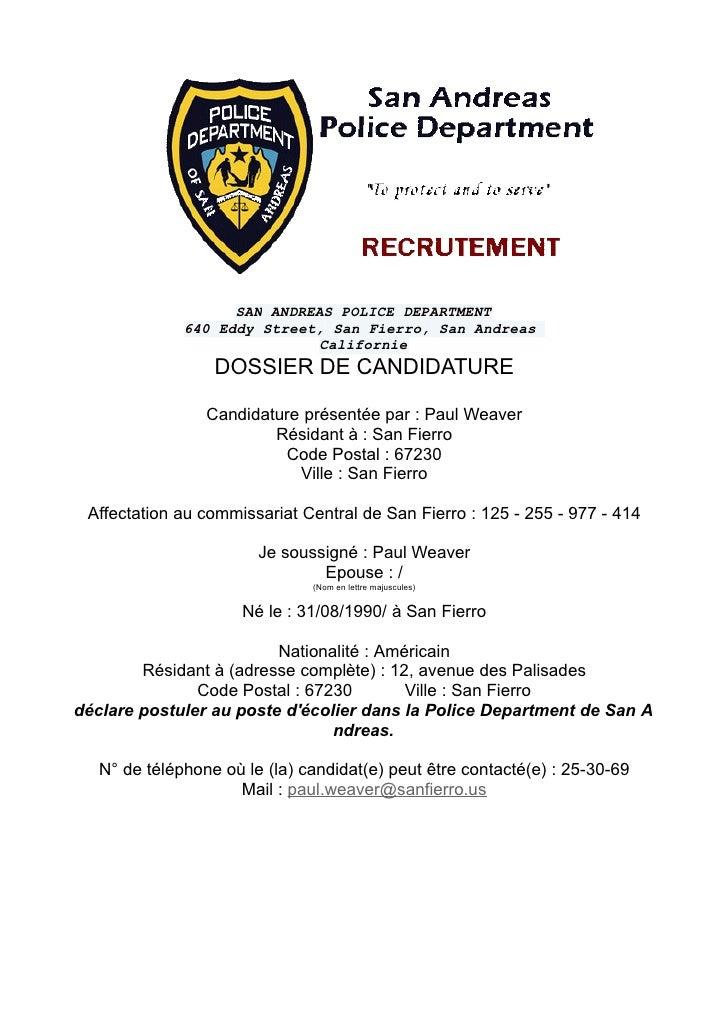 SAN ANDREAS POLICE DEPARTMENT              640 Eddy Street, San Fierro, San Andreas                              Californi...