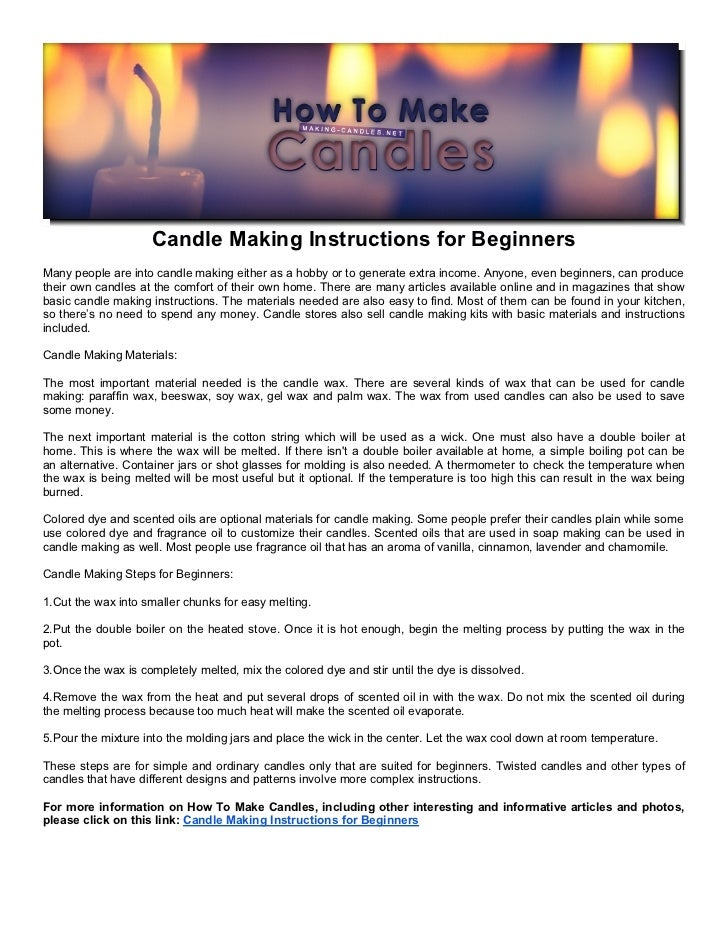 Candle making instructions for beginners for Net making instructions