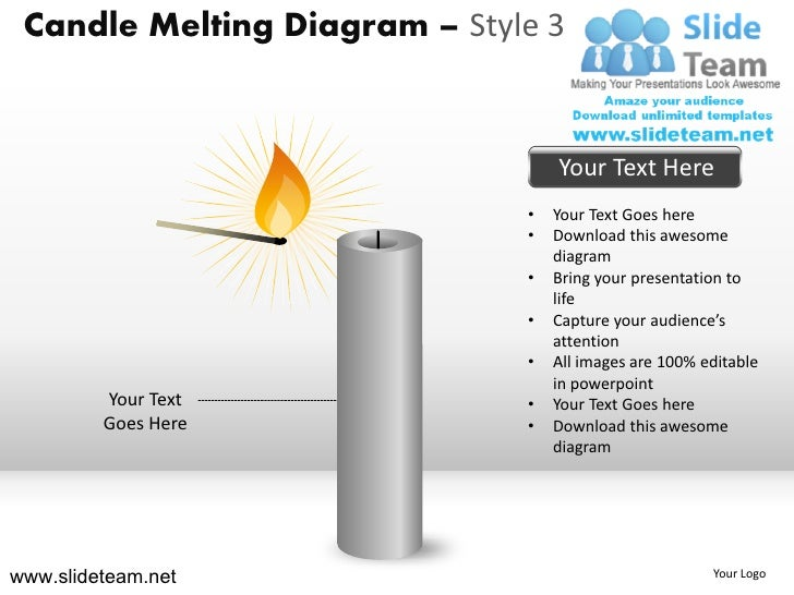 Candle melting diagram style design 3 powerpoint ppt templates.