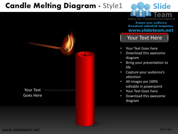 Candle melting steps diagram style design 1 powerpoint ppt slides.