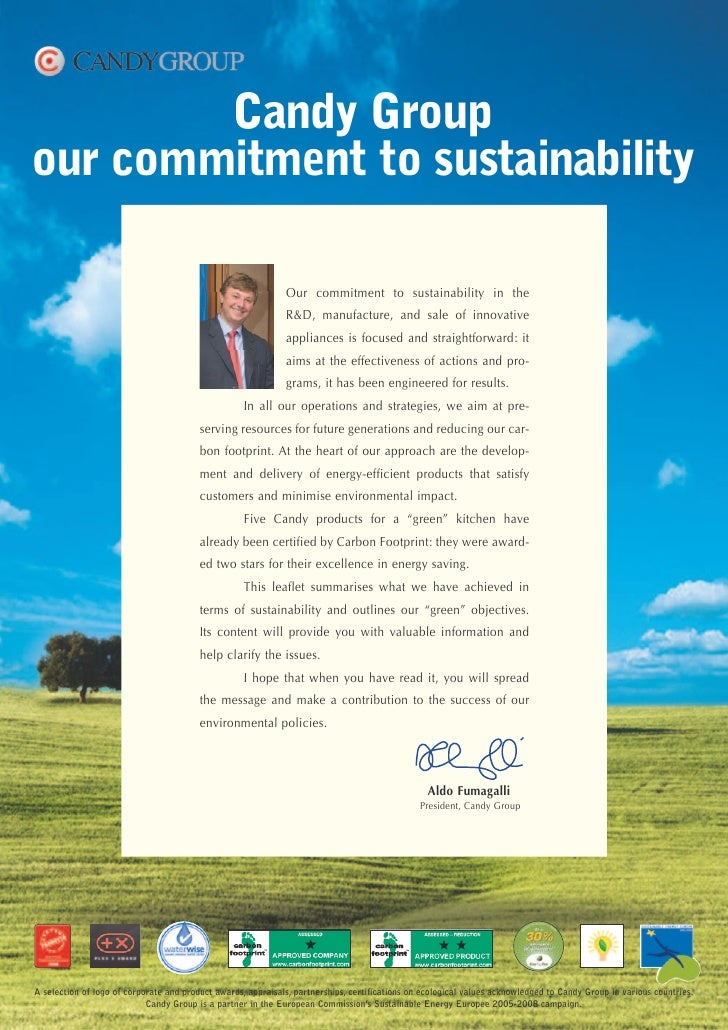 Candy Group our commitment to sustainability                                                                Our commitment...