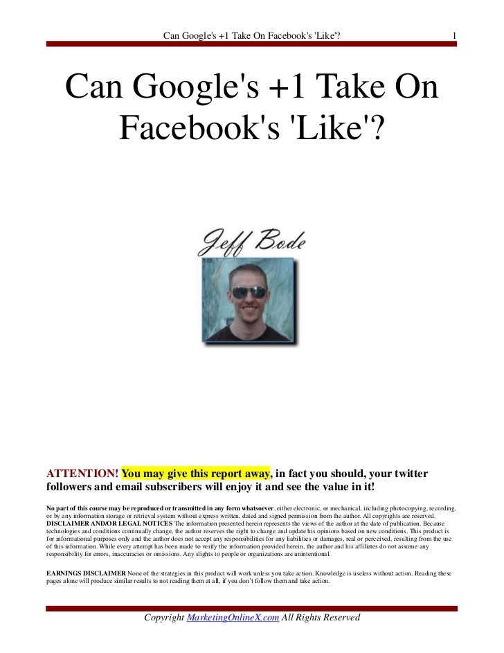 Can Googles +1 Take On Facebooks Like?                                                                     1       Can Goo...