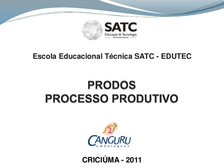 Escola Educacional Técnica SATC - EDUTEC<br />PRODOSPROCESSO PRODUTIVO<br />CRICIÚMA - 2011<br />