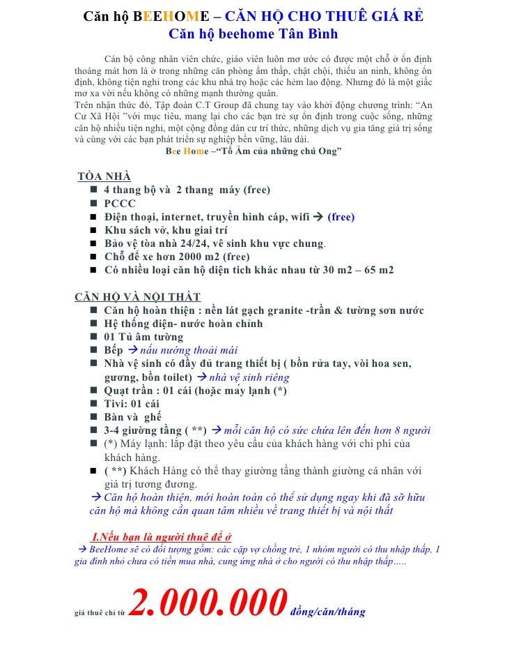 Căn hộ BeeHome, đầy đủ tiện ích, giá rẻ, tháng 10/2012 giao nhà