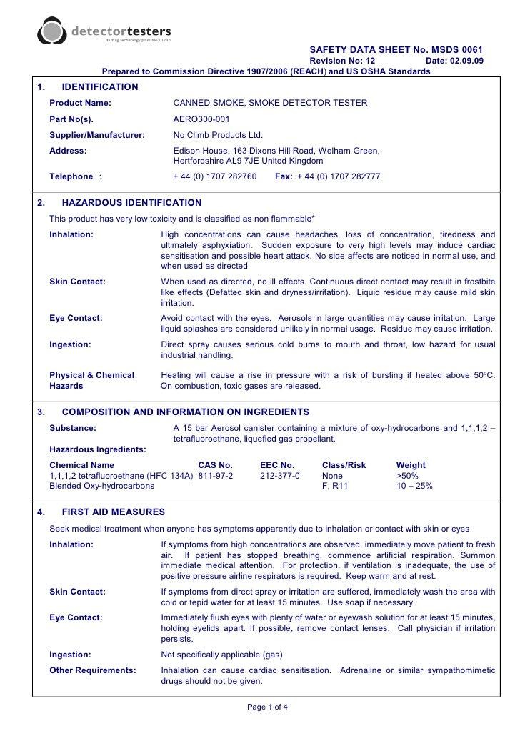 SAFETY DATA SHEET No. MSDS 0061                                                                  Revision No: 12         D...