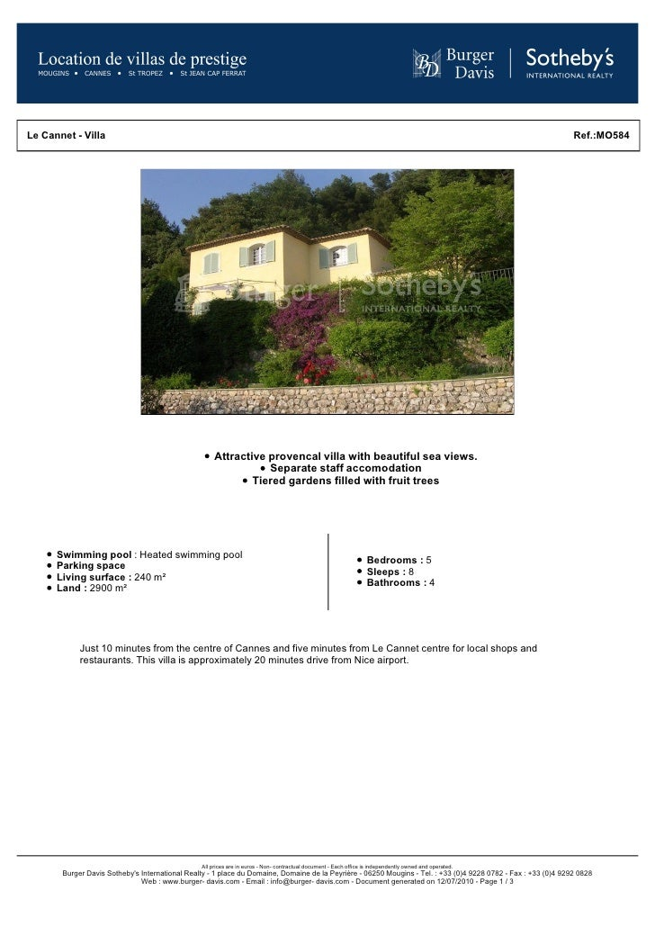 Cannes Rental Apartment - Provencal villa for rent with sea views in Cannes
