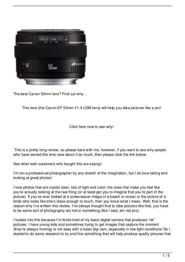 Canon Lens Review (the Canon EF 50mm f/1.4 USM lens): one of the best Canon lenses?