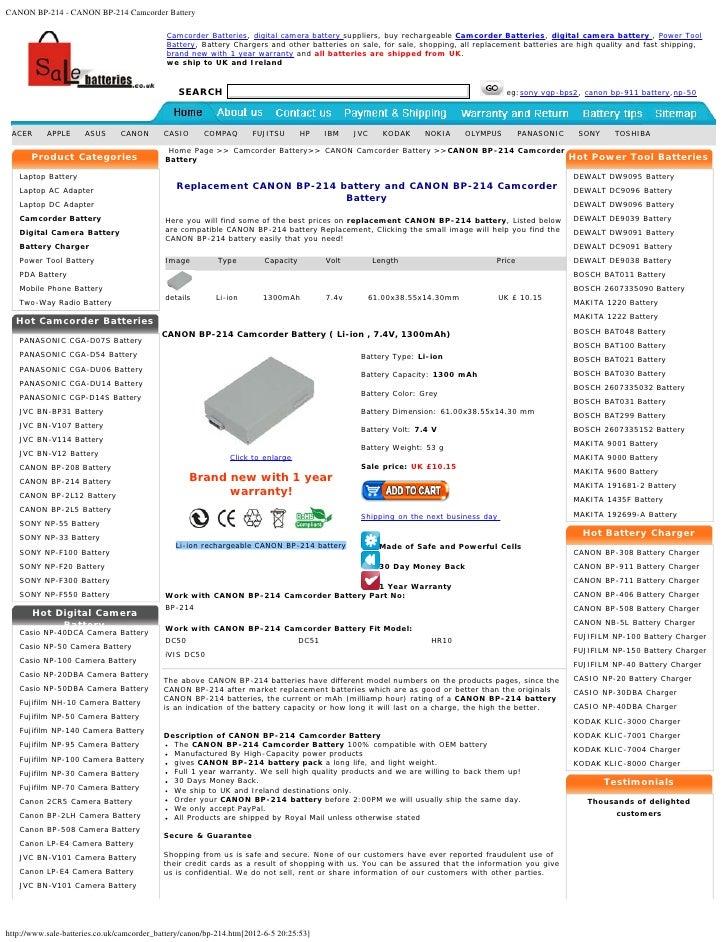 CANON BP-214 - CANON BP-214 Camcorder Battery                                            Camcorder Batteries, digital came...