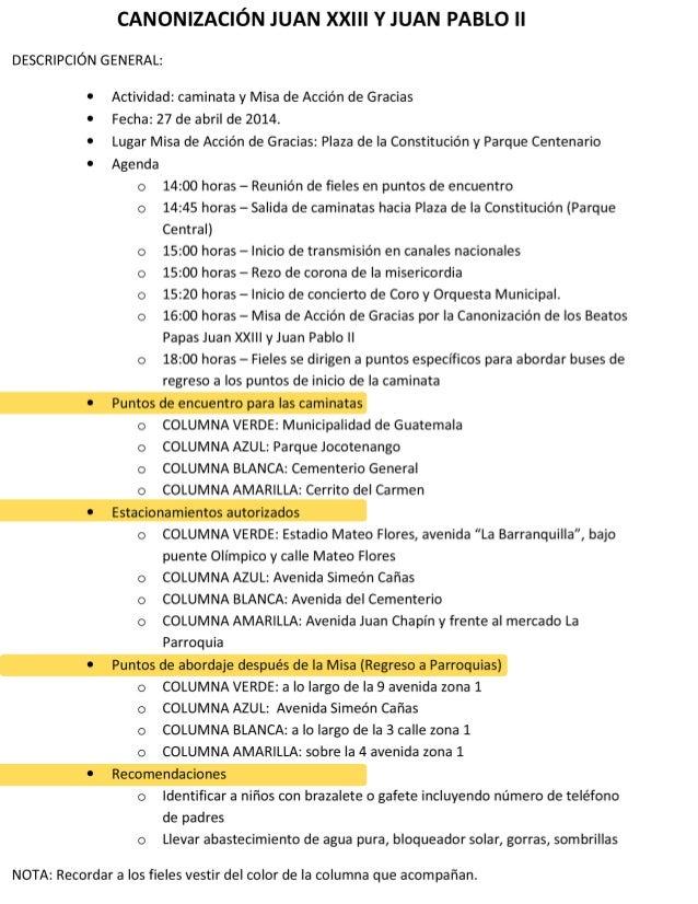 PUNTOS DE ABORDAJE DESPUÉS DE LA MISA (REGRESO A PARROQUIAS)