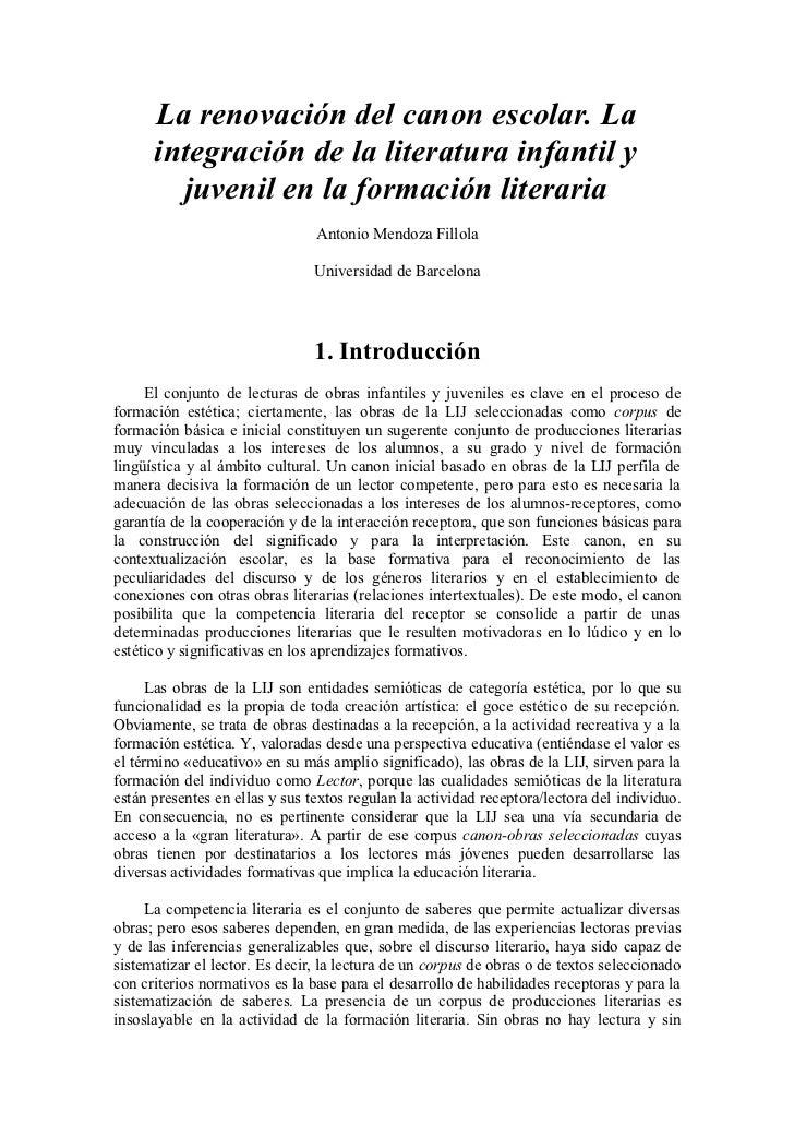 La renovación del canon escolar. La      integración de la literatura infantil y        juvenil en la formación literaria ...
