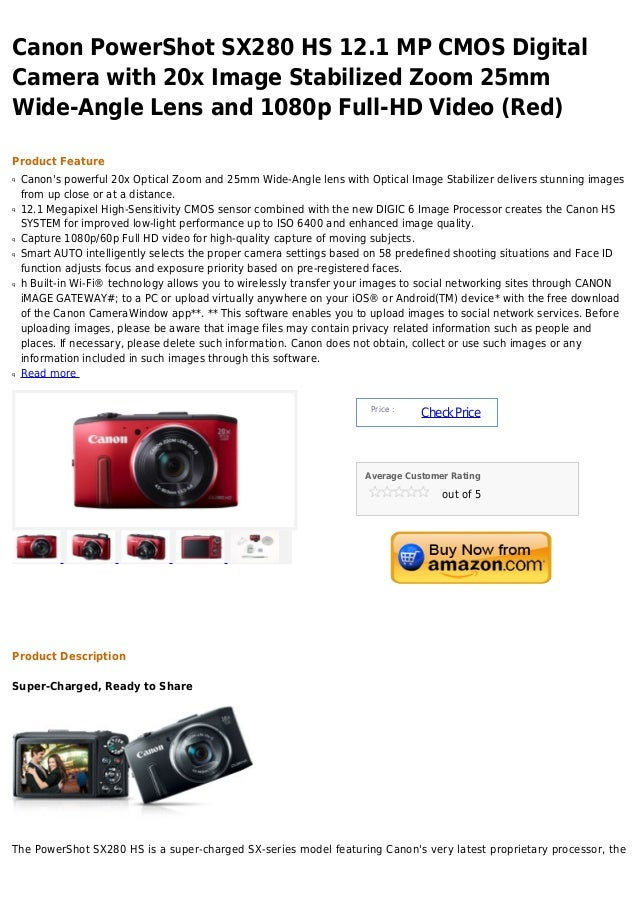 Canon power shot sx280 hs 12.1 mp cmos digital camera with 20x image stabilized zoom 25mm wide angle