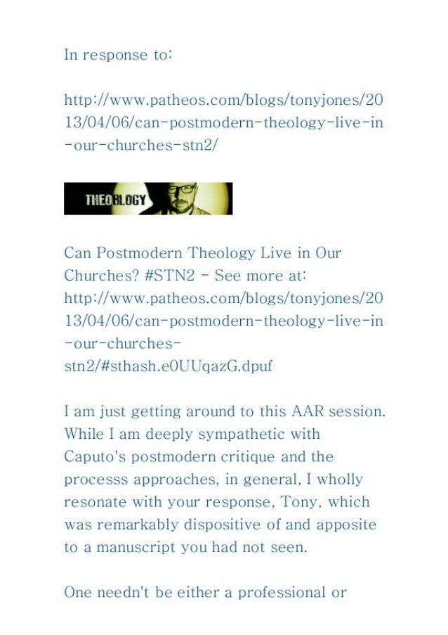 Can postmodern theology live in our churches
