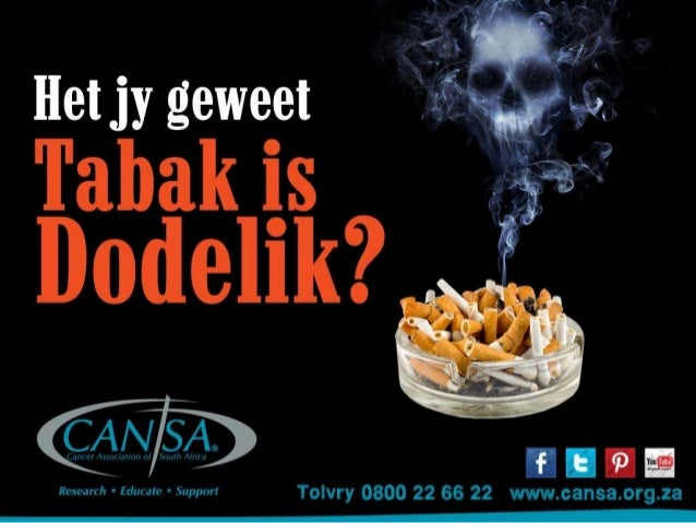 CANSA No Tobacco campaign 2014 Afrikaans