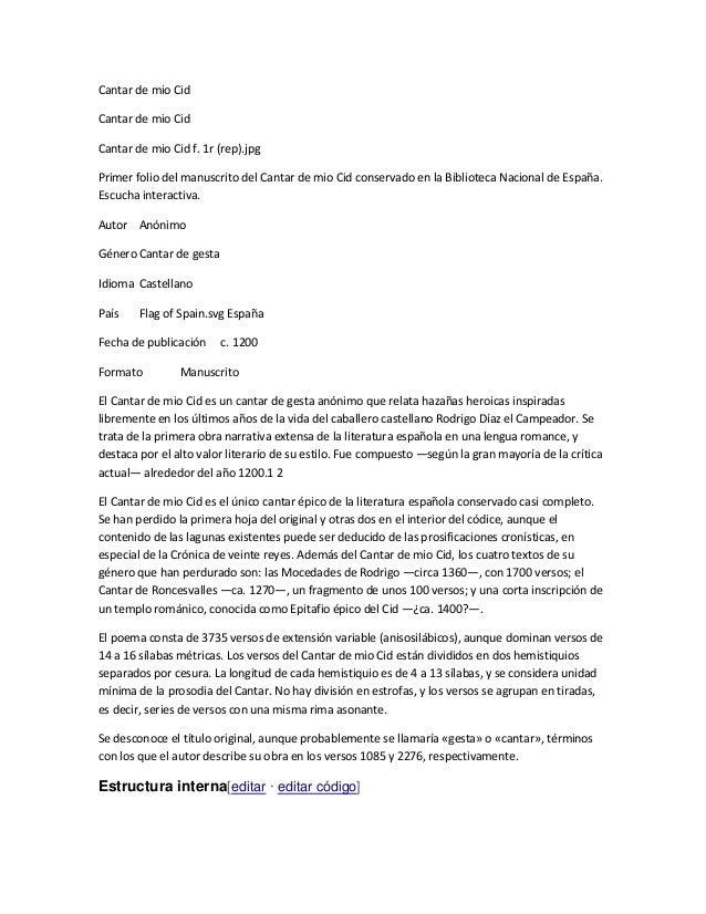 Cantar de mio Cid Cantar de mio Cid Cantar de mio Cid f. 1r (rep).jpg Primer folio del manuscrito del Cantar de mio Cid co...
