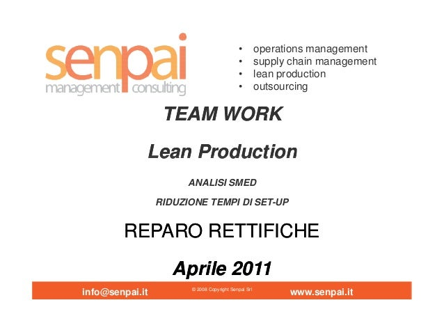 • • • •  operations management supply chain management lean production outsourcing  TEAM WORK Lean Production ANALISI SMED...
