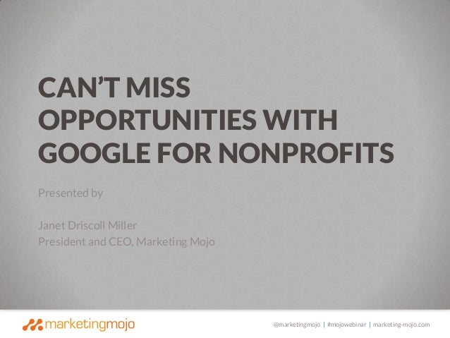Can't Miss Opportunities with Google for Nonprofits