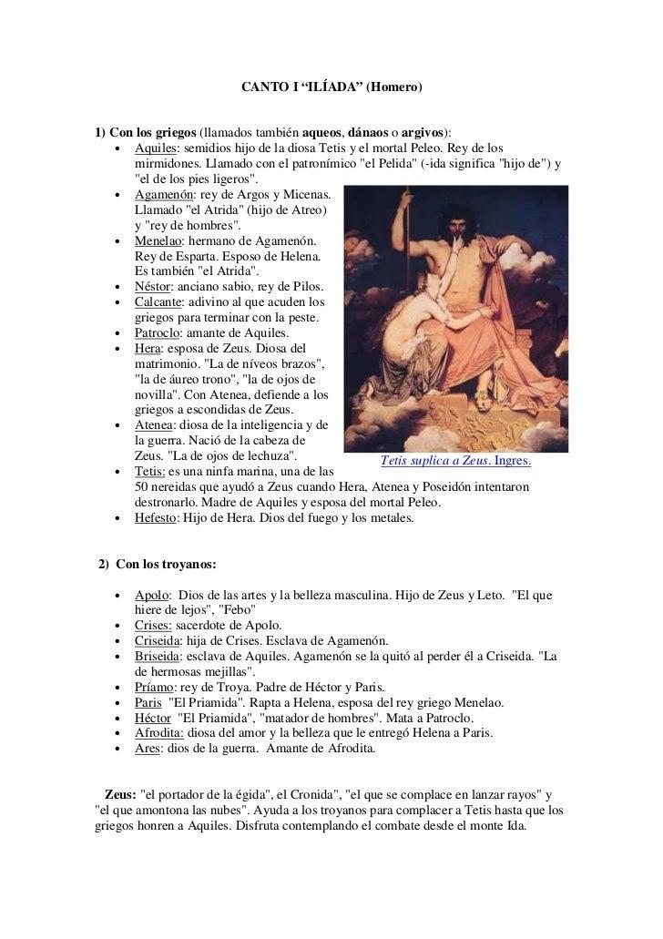 """CANTO I """"ILÍADA"""" (Homero)1) Con los griegos (llamados también aqueos, dánaos o argivos):    • Aquiles: semidios hijo de la..."""