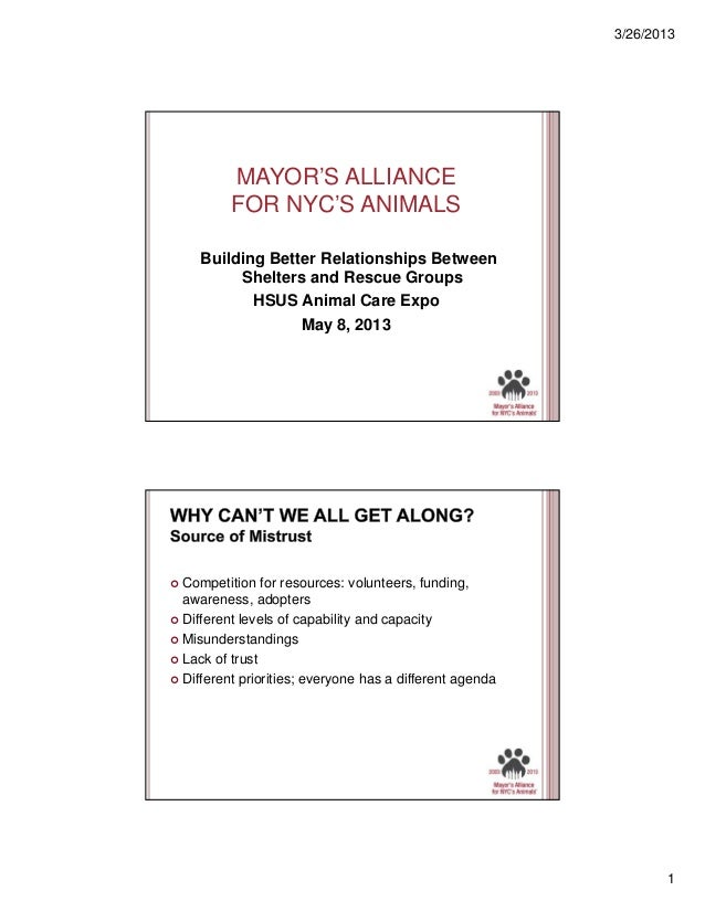 3/26/2013  MAYOR'S ALLIANCE FOR NYC'S ANIMALS Building Better Relationships Between Shelters and Rescue Groups HSUS Animal...