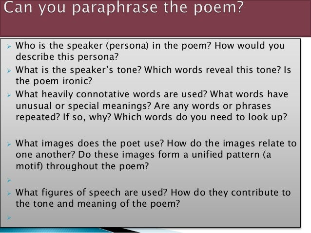 Paraphrasing a paragraph poem examples